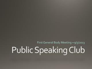 Public Speaking Club