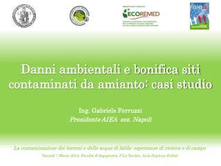 Danni ambientali e bonifica siti contaminati da amianto: casi studio Ing. Gabriele Ferruzzi Presidente AIEA  sez. Napol