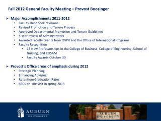 Fall 2012 General Faculty Meeting � Provost Boosinger