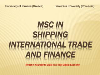 MSc in  Shipping  International Trade and Finance