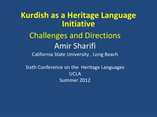Kurdish as a Heritage Language Initiative