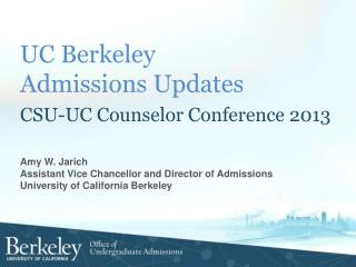 UC Berkeley  Admissions  Updates