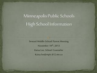 Minneapolis Public Schools High School Information
