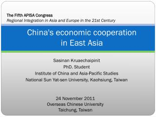 China's economic  cooperation in East Asia