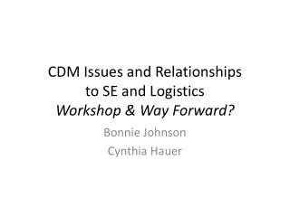 CDM Issues and Relationships to SE and Logistics Workshop & Way Forward?