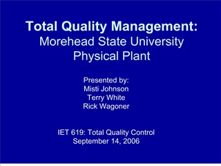 Total Quality Management: Morehead State University Physica