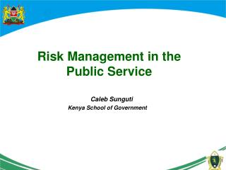 Risk Management in the Public Service