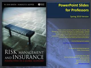PowerPoint Slides for Professors Spring 2010 Version