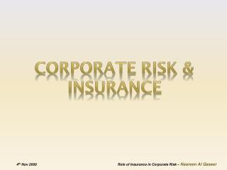 Corporate Risk & Insurance