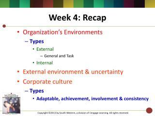 Week 4: Recap