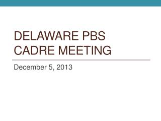 Delaware PBS Cadre Meeting