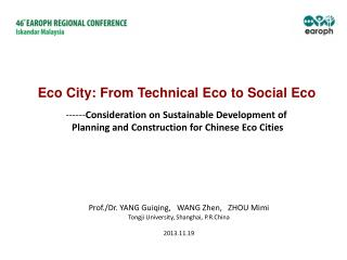 ------ Consideration on Sustainable Development of  Planning and Construction for Chinese Eco Cities