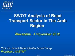 SWOT Analysis of Road Transport Sector in The Arab Region