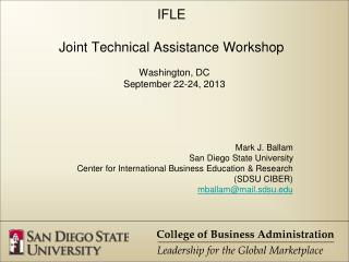 IFLE Joint  Technical Assistance Workshop
