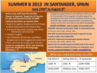 SUMMER B 2013  IN SANTANDER, SPAIN June 27th th  to August 9 th