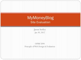 MyMoneyBlog Site Evaluation