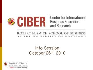 Info Session October 26 th , 2010