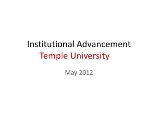 Institutional Advancement  Temple University