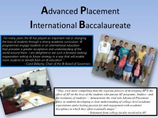 A dvanced  P lacement I nternational  B accalaureate