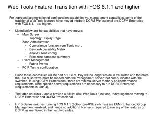 Web Tools Feature Transition with FOS 6.1.1 and higher