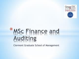 MSc  Finance and  Auditing