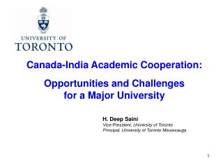 Canada-India Academic Cooperation: Opportunities and Challenges for a Major University
