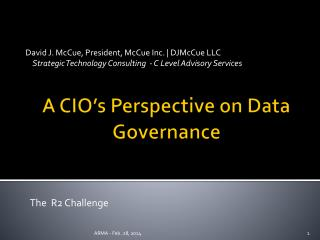 A CIO's Perspective on Data Governance