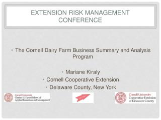 Extension Risk Management conference