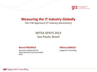 Measuring the IT Industry Globally The ITIB Approach (IT Industry Barometer) WITSA GPATS 2013 Sao Paulo, Brazil