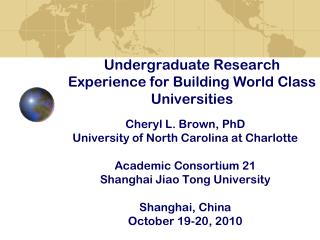 Undergraduate Research Experience for Building World Class Universities