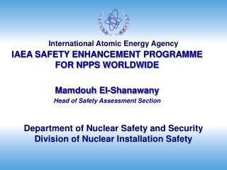 Department of Nuclear Safety and Security Division of Nuclear Installation Safety