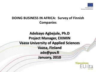 DOING BUSINESS IN AFRICA:  Survey of Finnish Companies
