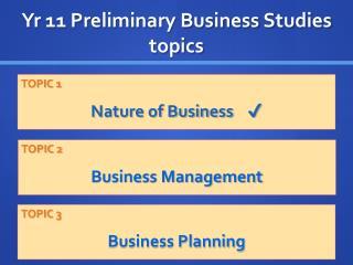 Yr 11 Preliminary Business Studies topics