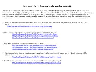 Myths vs. Facts: Prescription Drugs (homework)