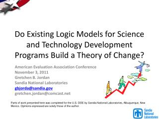 Do Existing Logic Models for Science and Technology Development Programs Build a Theory of Change?