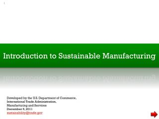 Introduction to Sustainable Manufacturing