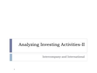 Analyzing Investing Activities-II