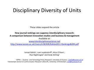 Disciplinary Diversity of Units