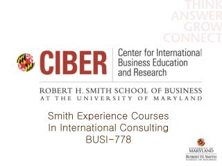 Smith Experience Courses In International Consulting BUSI-778