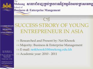 SUCCESS STRORY OF YOUNG ENTREPRENEUR IN ASIA