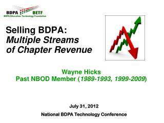 Selling BDPA:  Multiple Streams  of Chapter Revenue Wayne Hicks Past NBOD Member ( 1989-1993, 1999-2009 )