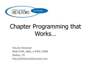 Chapter Programming that Works…