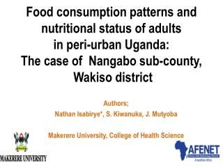 Food consumption patterns and  nutritional  status of  adults  in peri-urban Uganda:  The case of   Nangabo sub-county,