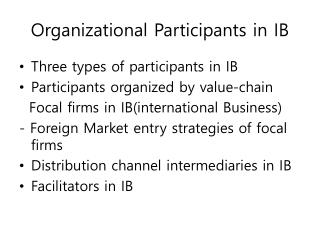 Organizational Participants in IB