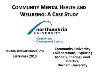 Community Mental Health and Wellbeing: A Case Study