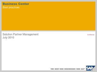 Business Center Best practices