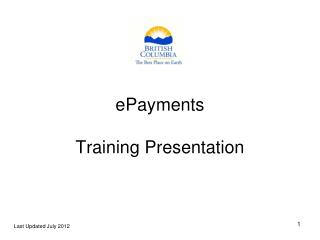 ePayments Training Presentation