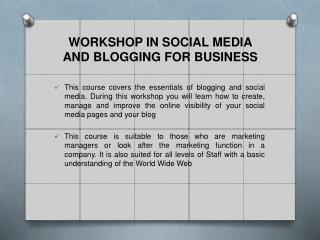 WORKSHOP IN SOCIAL MEDIA  AND BLOGGING FOR BUSINESS