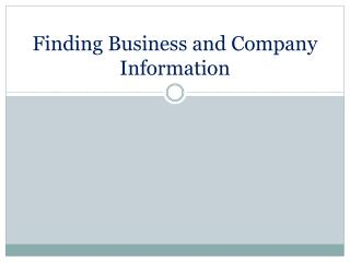 Finding Business and Company Information