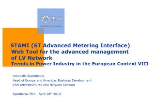 STAMI (ST  Advanced  Metering Interface) Web Tool for the advanced  management  of LV  Network Trends in  Power Industr